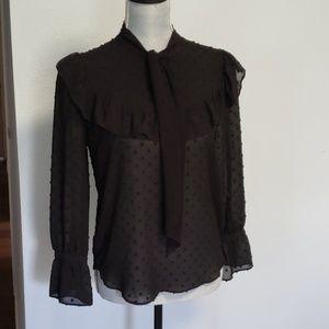 Ann Taylor black blouse sz xsp